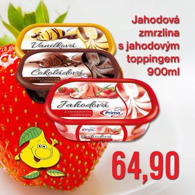 Jahodová zmrzlina s jahodovým toppingem 900 ml