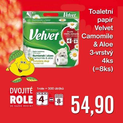 Toaletní papír Velvet Camomile & Aloe 3-vrstvý 4 ks (= 8 ks)