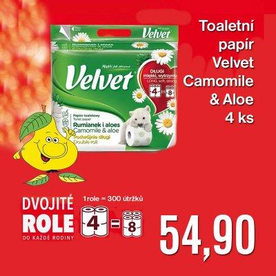 Toaletní papír Velvet Camomile & Aloe 4 ks (= 8 ks)