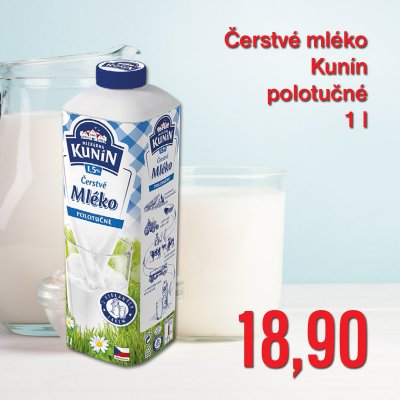 Čerstvé mléko Kunín polotučné 1 l