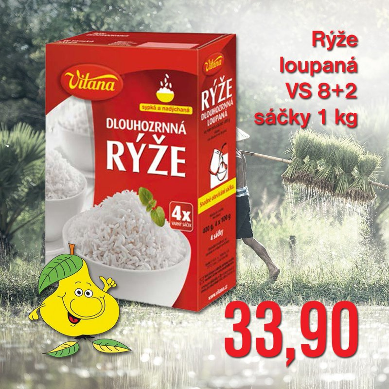Rýže loupaná VS 8 + 2 sáčky 1 kg
